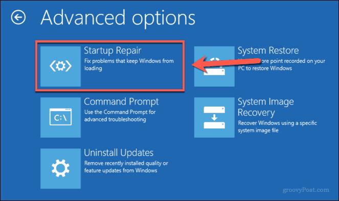 Launching Startup Repair