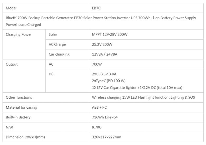 BLUETTI EB70 specs