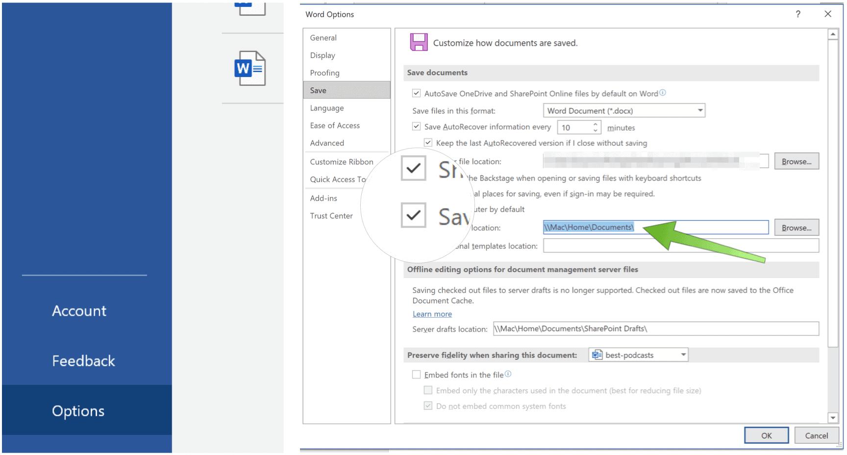 Microsoft Office Default Save Location
