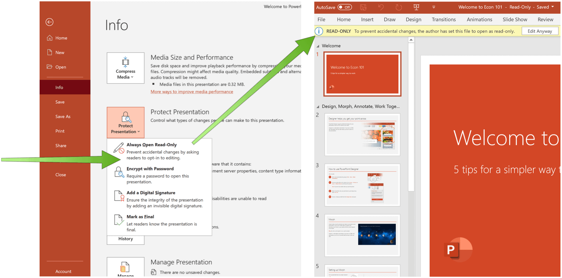 PowerPoint read-only set