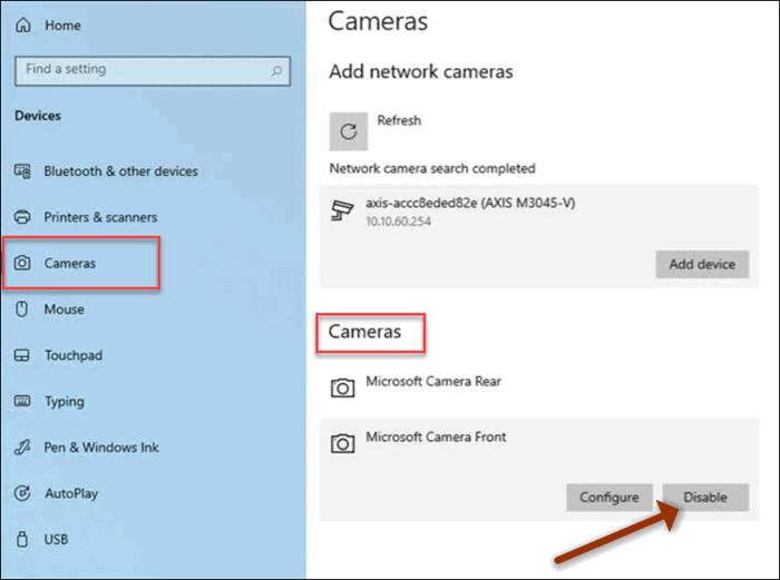 windows 10 settings camera