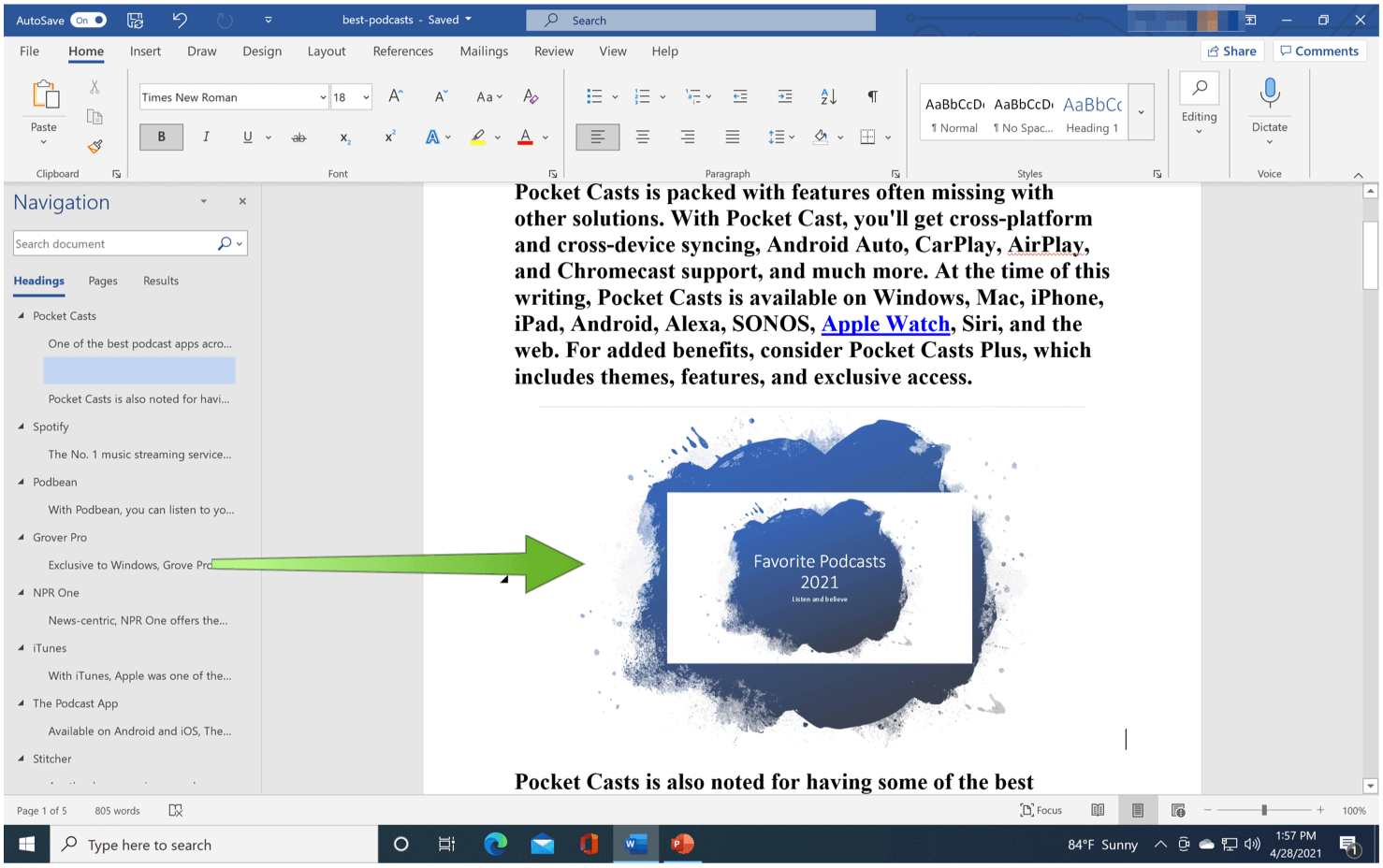Word to powerpoint example