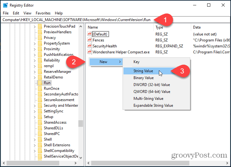 Create a new string value in the Registry Editor