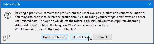 Delete profile warning dialog in Firefox
