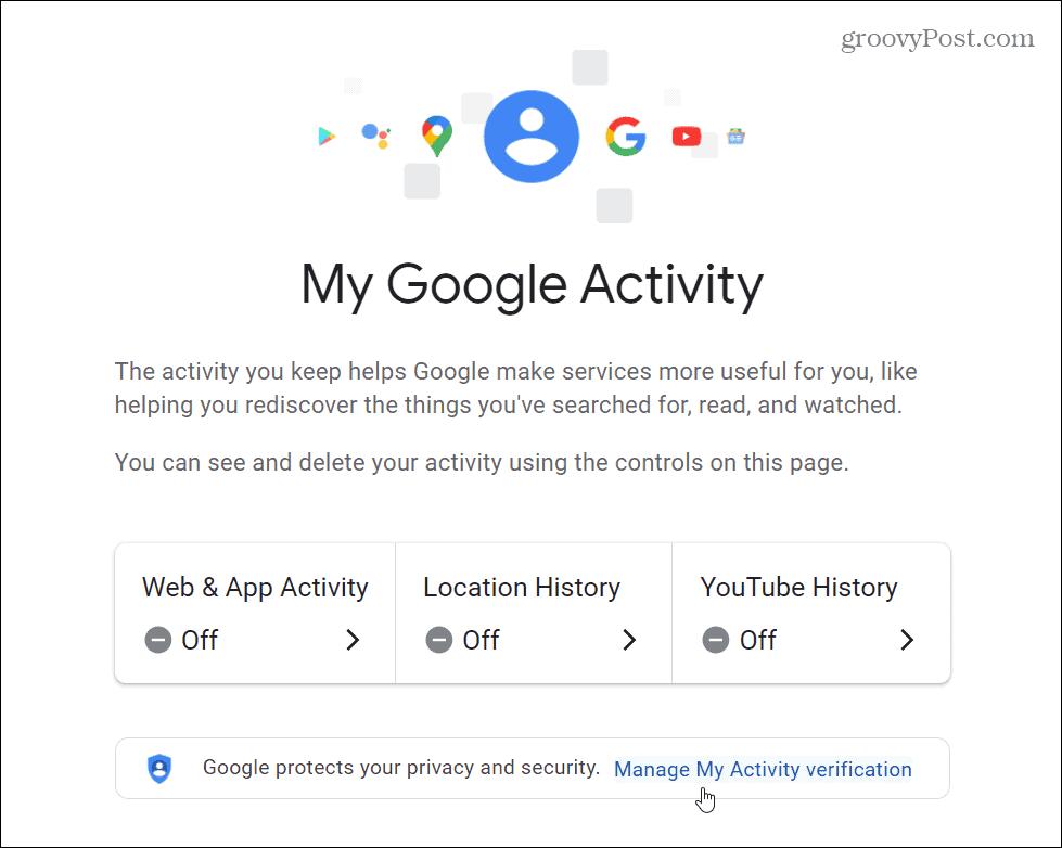 Manage My Activity Verification