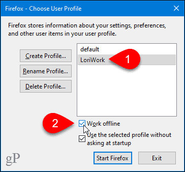 Work offline with a profile in Firefox