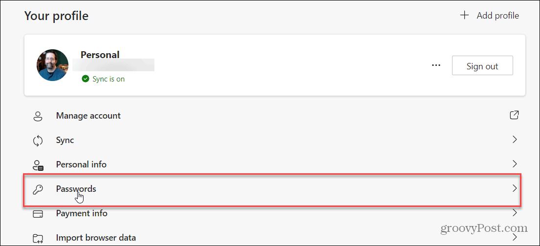 Edge Passwords Options