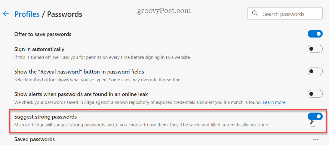 Edge Suggest Strong Passwords