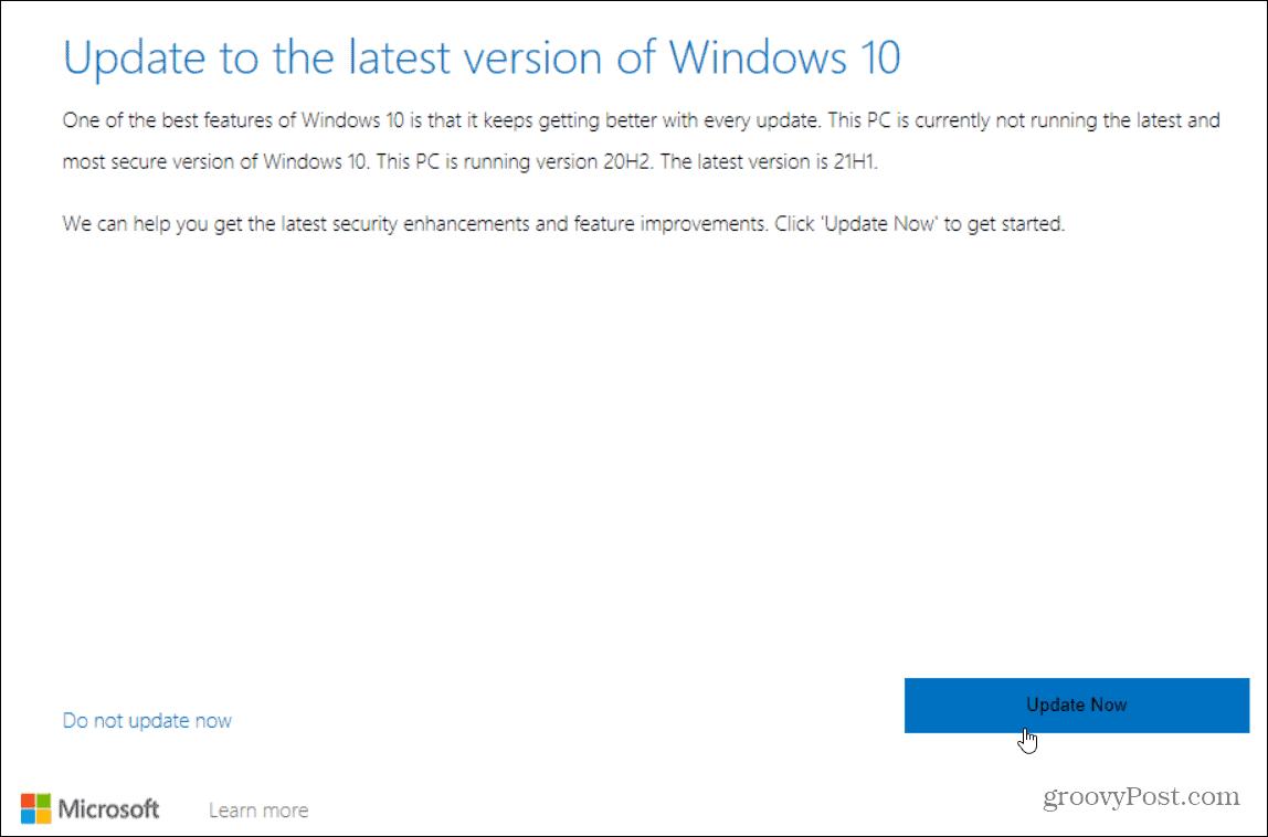 update to latest windows 10 version