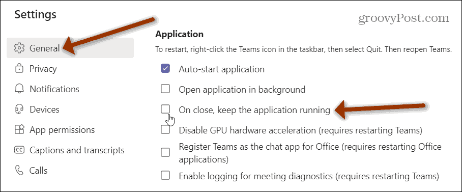 Application section Microsoft Teams