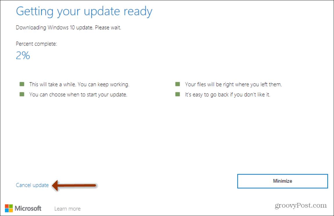 Cancel Install Update