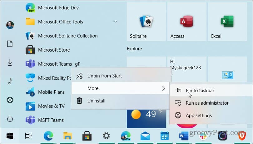 Pin Microsoft Teams to taskbar