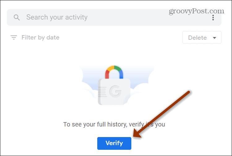 Verify Google Search History Button