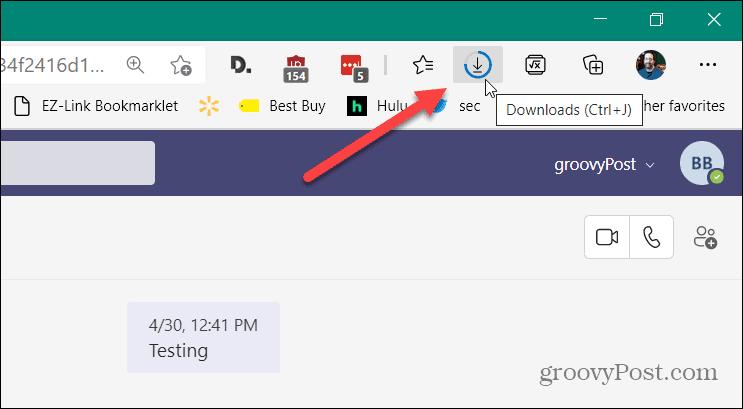 Downloads button Edge