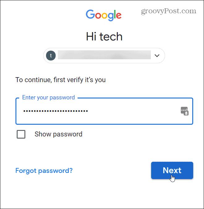 unlock with password to verify info