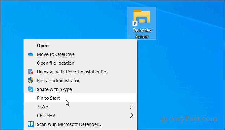 pin to Start menu