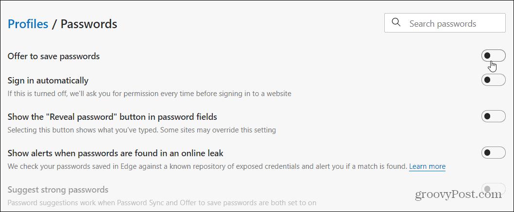 Disable Password Options Edge
