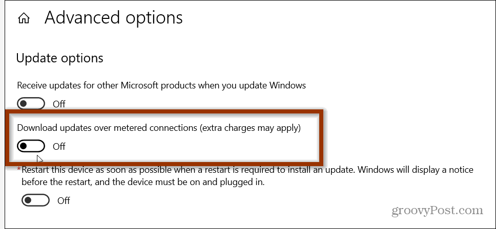 download over metered connections