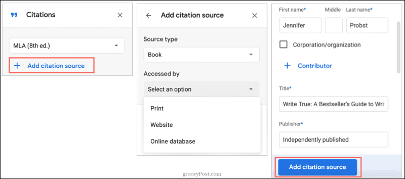 Add a Citation Source in Google Docs
