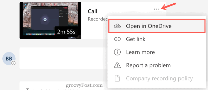 Chat Recording Open in OneDrive