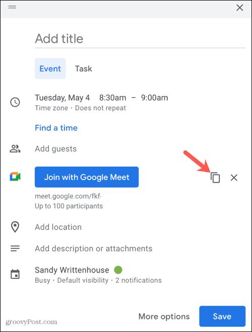 Copy Google Meet link
