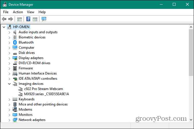 Device Manager running on Windows 10