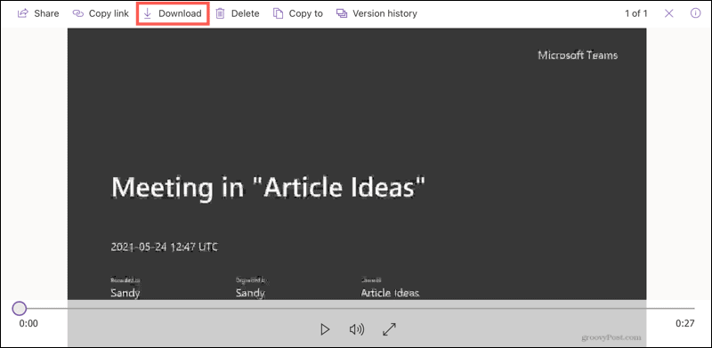 Download a recording in a browser