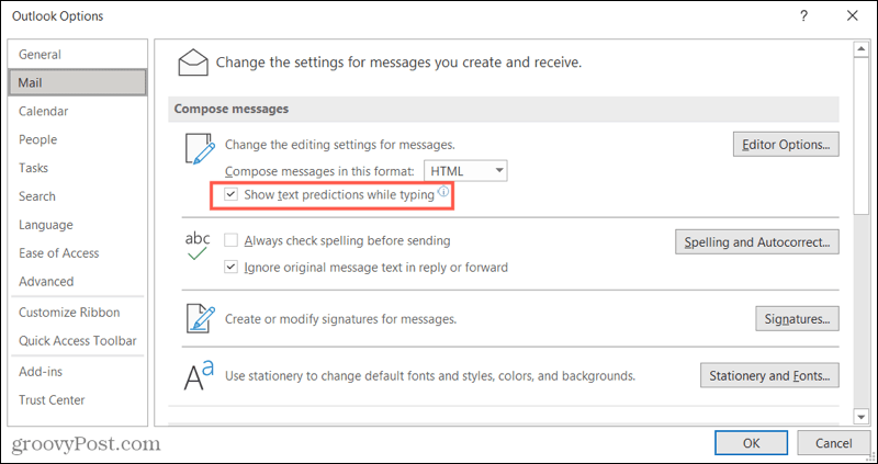 Enable Text Predictions in Outlook on Windows