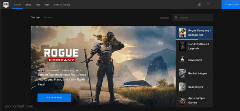 A screenshot showing the Epic Games Store website