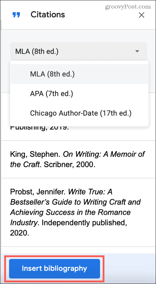 Insert a Bibliography in Google Docs