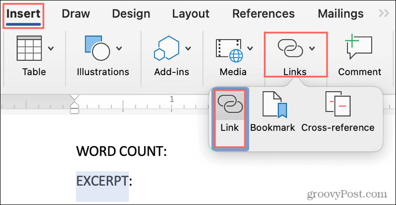 Click Links in the ribbon