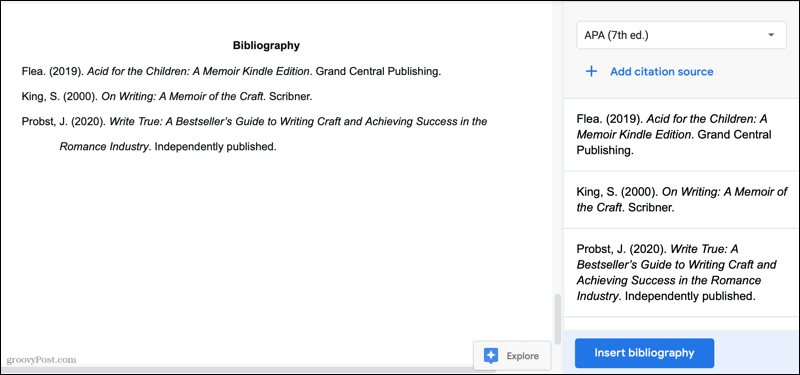 Bibliography in Google Docs