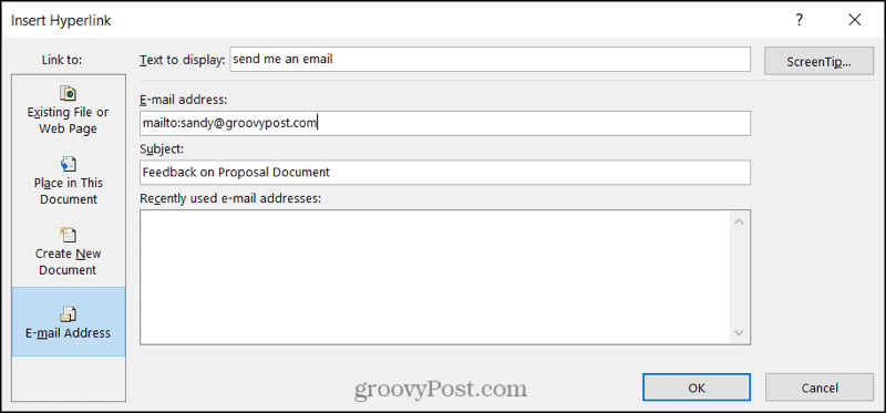 Link to an email in Word on Windows