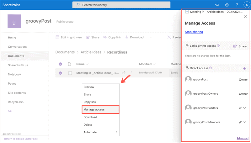Manage access to a Microsoft Teams recording