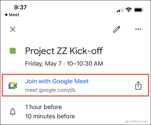 Google Meet link