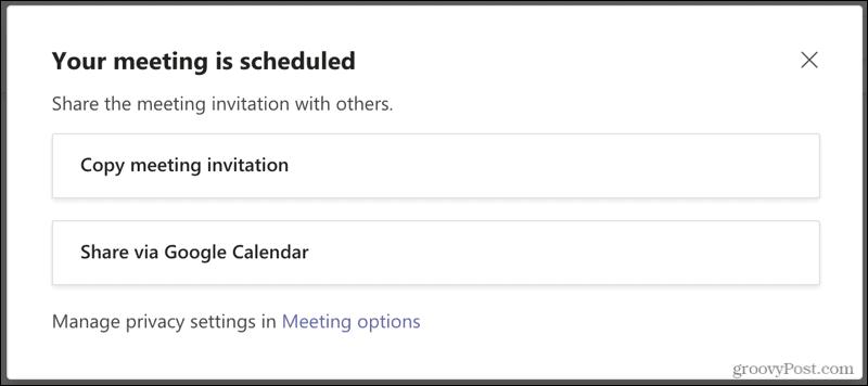 Meeting Scheduled in Microsoft Teams