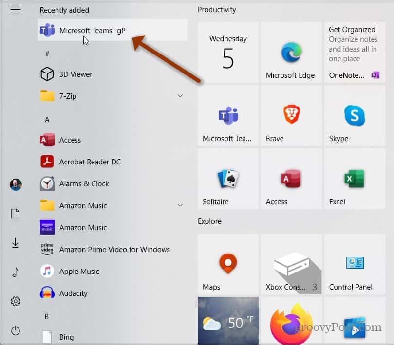 Microsoft Teams Web App Start Menu Recently Added