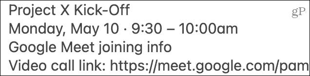 Paste Google Meet invite