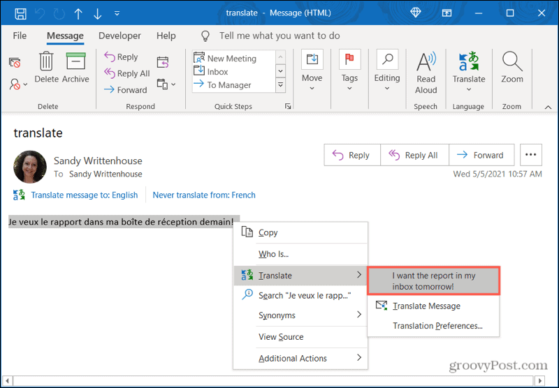 Right-click to translate in Outlook