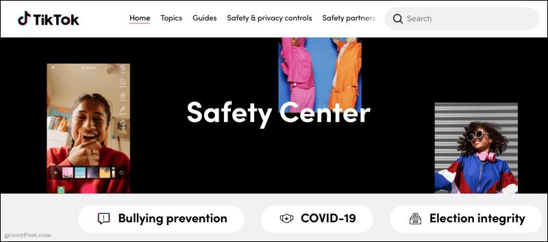 Safety Center, TikTok Online