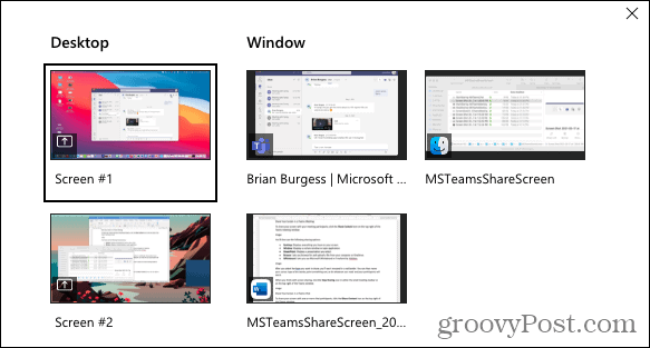 Screen Share Options in a Teams Chat
