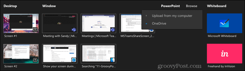 Screen Share Options in Teams