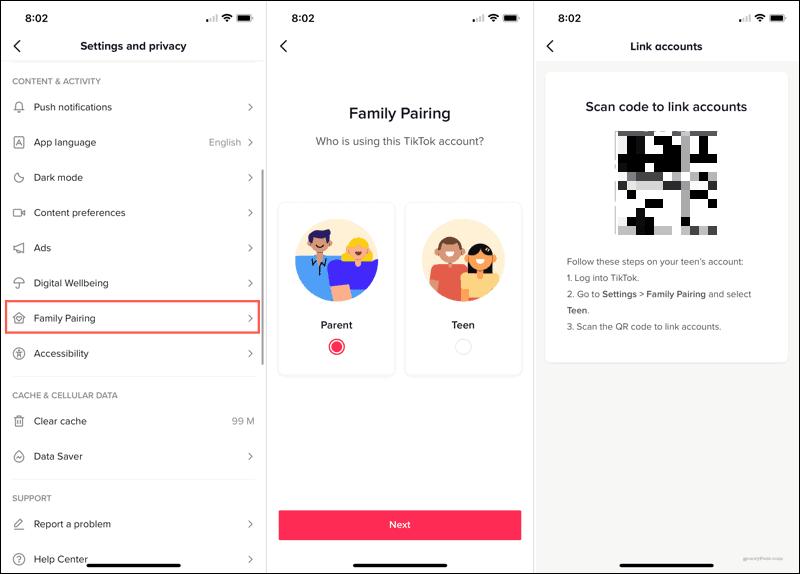 Select Family Pairing in Settings on TikTok