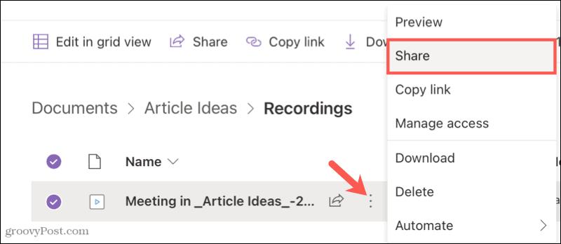 Share a Microsoft Teams recording
