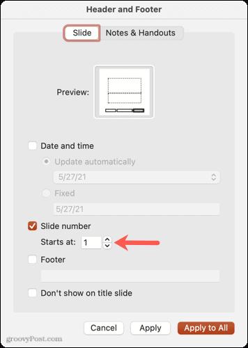 Starting slide number in PowerPoint on Mac