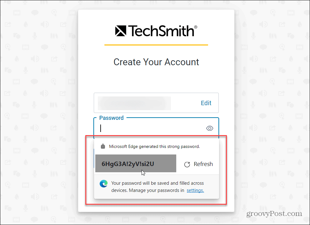 Strong Password Offered by Edge