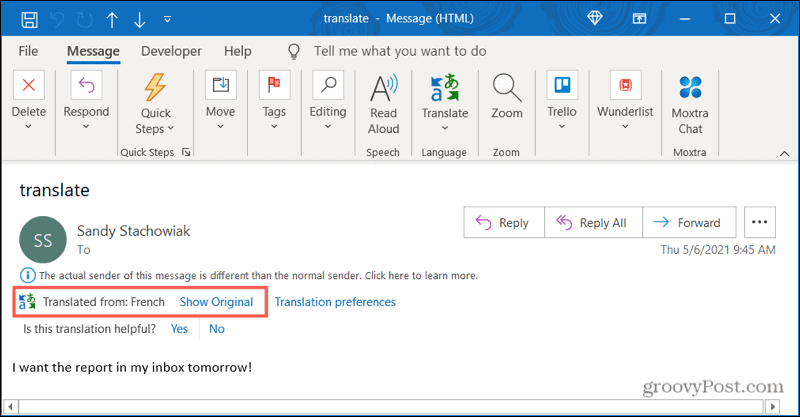 Automatically translated email