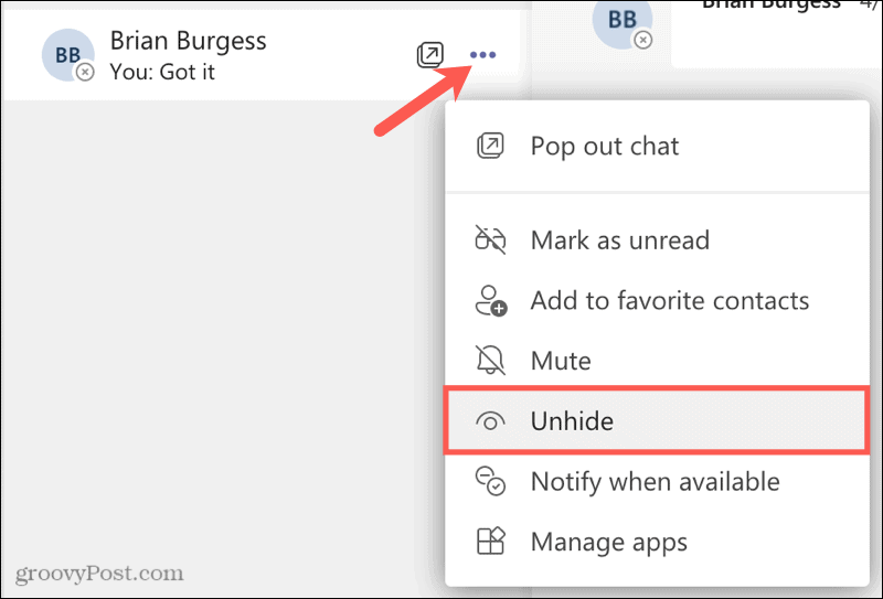 Unhide a chat on Microsoft Teams