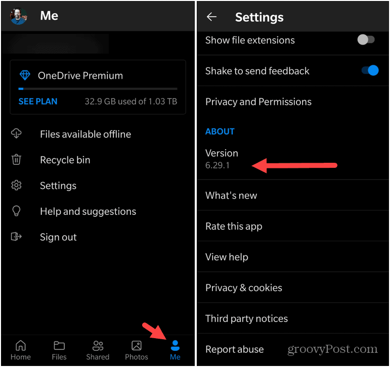 Version of OneDrive on Android