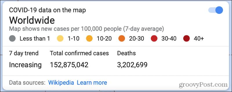 Worldwide COVID-19 Info on Google Maps